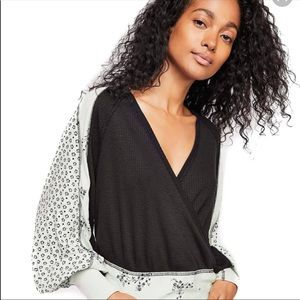 Free People Auxton Thermal Mint Black Shirt NEW M